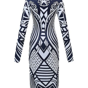 Casual Scoop Back Printed Bodycon Dress