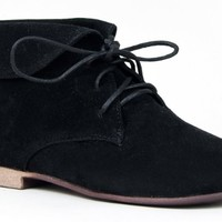 Breckelle's SANDY-51 Basic Lace Up Folded Cuff Desert Ankle Boot Booie