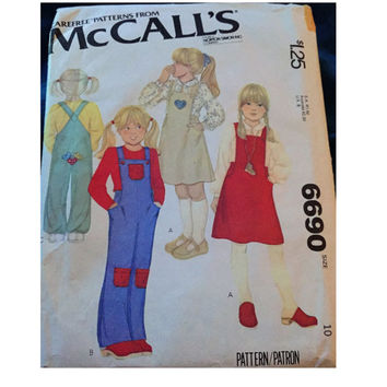 "Vintage McCall's Sewing Pattern 6690 for ""Children's and Girl's Jumper or Overalls and Appliques"" From 1979 / Size 10"