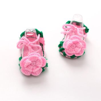 baby girl shoes Crib Crochet Baby Girls Flower Bow tie Handmade sandals for girls shoes Knit summer 2017