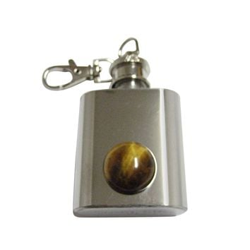 Round Tigers Eye 1 Oz. Stainless Steel Key Chain Flask