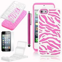Pandamimi Stylwire iphone 5 case - Deluxe Rose Pink White Zebra Combo Hard Soft High Impact Armor Case Skin Gel + Phone Stand + Screen Protector + Stylus