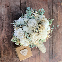 Wedding Bouquet - Luxe Collection Medium Ivory Dusty Miller Raw Cotton Keepsake Alternative Bouquet, Sola Bouquet, Rustic Wedding