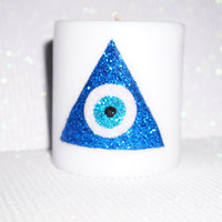 Lucky Eye Triangle Sparkle Candle