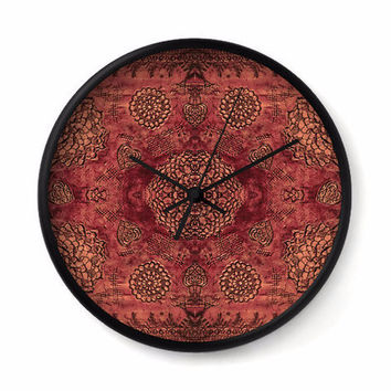 Bohemian Wall Clock with marsala red floral lace pattern