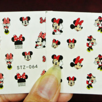 2 sheets Minnie Mouse Nails, Minnie Mouse with red Dress, Nail Decals, Nail Art, water transfer, Minnie Bows, Red Bows, Nail Decoration
