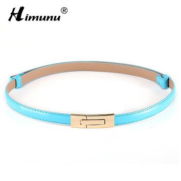 Himunu Fashion brand 100% genuine leather women belt metal Pin buckle Vintage belts for women Color Black White red sapphire