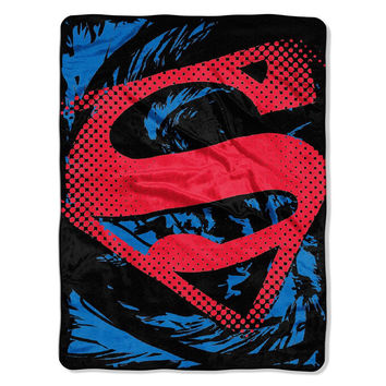Superman - Super Rip Shield  Micro Raschel Blanket (46in x 60in)