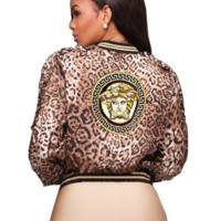 VERSACE Digital Print Thin Jacket Women's Jacket Leopard