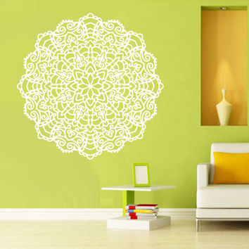 Wall Decal Vinyl  Mural Sticker Art Decor Bedroom Yoga Kitchen Ceiling Mandala Menhdi Flower Pattern Ornament Om Indian Hindu Buddha (z2852)