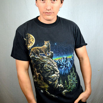 Vintage 1993 90s Mountain Lion Night Sky Tee Shirt