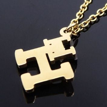DCCKJ1A Hermes stainless steel gold jewelry double 'H' vacuum plating polishing necklace