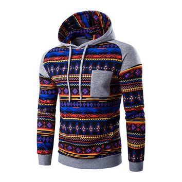 New Fashion Stripe Prints Ethnic Style Men's Hooded Sweatshirts Casual Stitching Raglan Sleeve Hoodies Man Hoody Tracksuit A8897