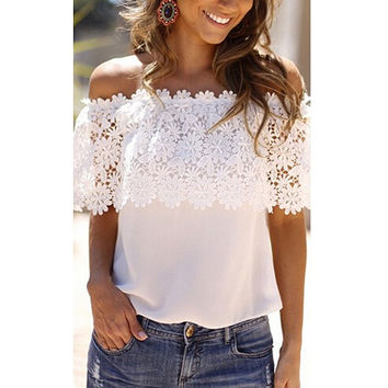 Summer Women's Off The Shoulder Casual Tops petal sleeve Blouse Lace Floral Chiffon