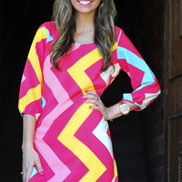 Seeing Chevron Sideways Dress: Multi | Hope's
