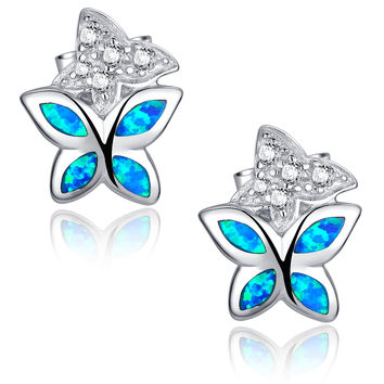 Sterling Silver Butterfly W. Blue and Green Fire Opal Stud Earrings