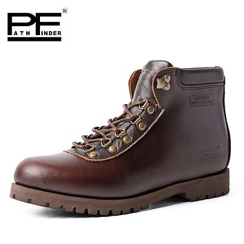 Pathfinder High Quality Male Shoes Cow Leather Boats Original Brand Leisure Martin Boats Design Retro Shoes for Mens