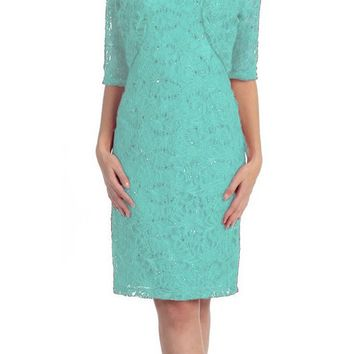 CLEARANCE - Modest Mint Short Lace Dress With Matching Bolero Jacket (Size 3XL)