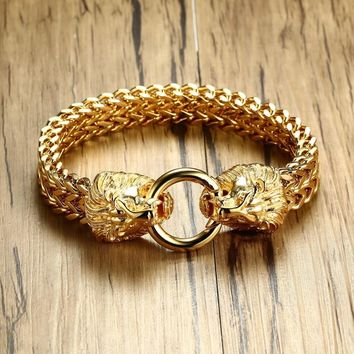 Antique Double Lion Head Herringbone Chain Bracelet for Men Stainless Steel Gold Tone Hip Hop Punk Men Jewelry 22.5cm