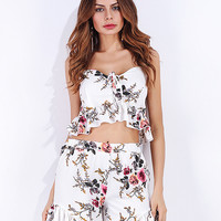 White Floral Print Ruffle Hem Cami Crop Top and Shorts