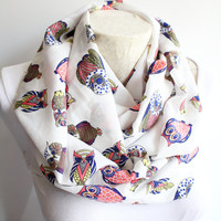 Owl Scarf , Colorful Infinity Scarf , Owl Printed Infinity Scarf , Gift Ideas for Her , Women Accessories