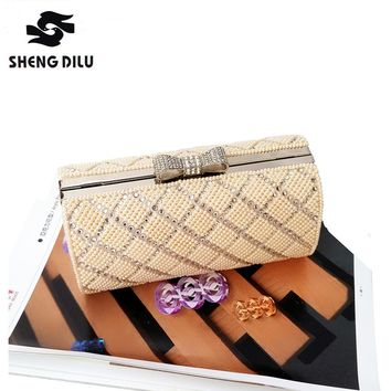 Fashion Butterfly-knot Bohemian Style Bridal Women Handbags Diamond Lattice Beading Party Bag Female Wedding Purse Cluthes Bag