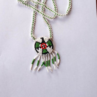 Vintage Beaded Necklace Native American Style Thunderbird Pendant Green & White Beadwork Necklace