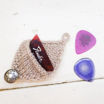 Knit guitar pick cozy, guitar pick holder, knit holder, taupe pick holder, button closure, ready to ship, handmade, rock star, musician gift