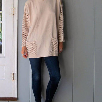 Oversized 80s Beige Tunic Top Sweater CUT WORK Sleeves Crochet Pockets Cotton Rib Mini Dress Long Sweater Top Boho Minimal Vintage Womens XL
