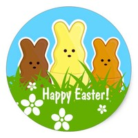 Cute Easter Bunnies Round Sticker