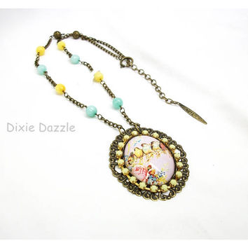 Birds on a wire art cameo necklace, vintage art image cameo with yellow rhinestones, blue and yellow jade, antiqued bronze, vintage style