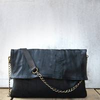 Morelle Oversized Chain Clutch in Black/ Leather Clutch / Black Leather Clutch / Envelope Clutch / Chain Clutch Bag / Black Leather Purse