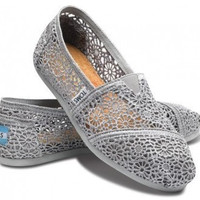 TOMS Natural Crochet Classics Flats Fashion hollow Summer Sexy Loose Shoes Light grey