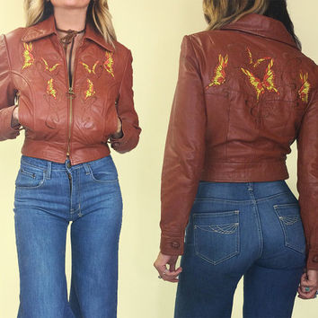 Vintage 1960s 1970s Rare ABACUS of Boston Butterfly Embroidered Hippie Boho Honey Brown Leather Motorcycle Bomber Jacket || Size XS to S