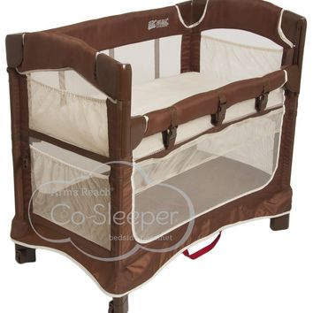 Arm's Reach Mini Ezee 3 in 1 Baby Co-Sleeper Bedside Bassinet Cocoa Natural NEW