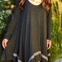 Gray Long Sleeve Asymmetrical Dress with Design