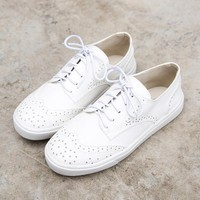 Big Size 35 -42 Cut-outs White Shoes For Women Casual Shoes Classic Brogues Oxford Shoes for Women Lace up White Shoes XWA0325-5