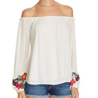 Lovers and FriendsOver the Sea Embroidered Off the Shoulder Top