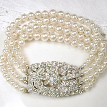 Art Deco Pearl Bracelet, Four Strand Ivory Pearl Bridal Bracelet, Ornate Silver Pave Rhinestone Clasp, Vintage 1920s Great Gatsby Wedding