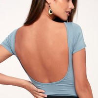 Showtime Light Denim Blue Backless Bodysuit
