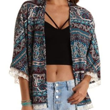 Floral & Paisley Printed Kimono by Charlotte Russe