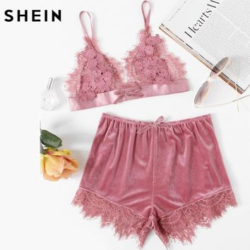 SHEIN Elegant Two Piece Set Pink Applique Detail Lace Bralette and Velvet Shorts Sleepwear