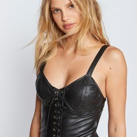 Free People CIty Slicker Leather MIni Dress