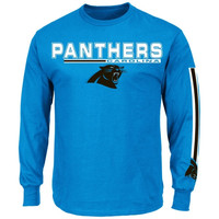 Carolina Panthers Primary Receiver V Long Sleeve T-Shirt - Blue
