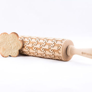 Running Horses - Embossed, engraved rolling pin for cookies