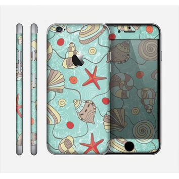 The Teal Vintage Seashell Pattern Skin for the Apple iPhone 6