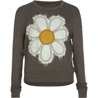 Full Tilt Daisy Girls Semi Crop Tee Charcoal  In Sizes