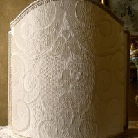 Venetian Lamp Shade Ivory Rubelli Sir Francis Crinkled Damask Fabric Half Lampshade - Handmade in Italy