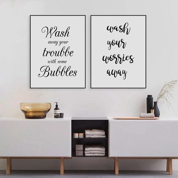Wash Your Worries Away Quote Wall Art Canvas Print And Poster  , Bathroom Prints Canvas Painting Home Decoration