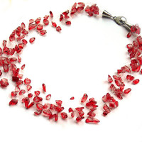 Red Necklace. Bridal Necklace. Bridesmaid Necklace. Wedding Necklace. Beadwork